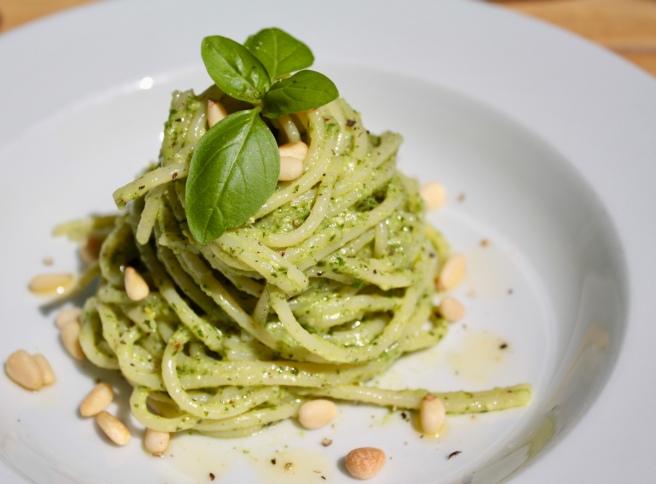 Dairy free Pesto and gluten free spaghetti
